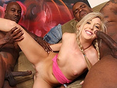 Nice titted blonde Callie Cobra gets nailed and facialed by 3 huge cocked horny black guys