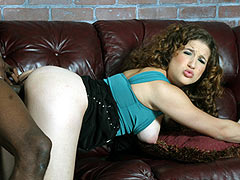 Curly haired brunette Elise gets banged in her ass by a black guy