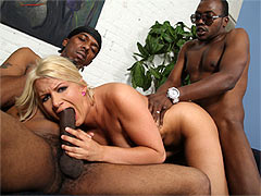 Laela Pryce recieves facial cumshots from two black guys after she got banged hard