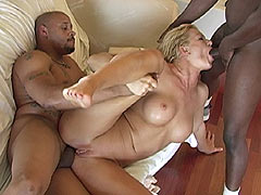 Malitia does raw anal with two big cocked black Studs