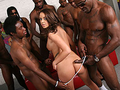 Pressley Carter gangbanged and facialed by several black dudes
