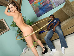 Brunette babe Remy Lacroix gets ass to mouth a black cock