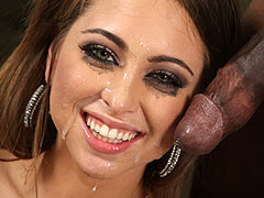 Riley Reid in black stockings deepthroats and rides on a long black meat til she squirts