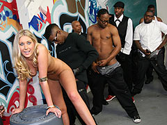 Hot blonde Alysha Rylee  gets fucked and jizzed by Several Black Men