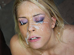 Brittany Angel gets facialed by hung blacks