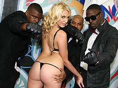 Gorgeous nice titted Katie Summers sucking several black dick then getting hardcore fucked by those horny black Brothas