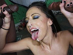 Veronica Jett gets facialed by hung blacks