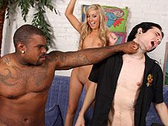 Hung black guy fucks the sexy Callie Cobra after knocking her boyfriend out