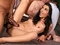 Lou Charmelle the sexy bride goes black in front of her cuckold groom