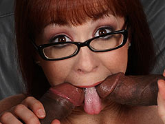 Spectacled Trinity Post getting banged in front of a cuckold