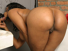 Natural busty Carmen Hayes sucking off a white gloryhole cock
