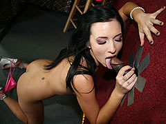 small titted Ashli Orion meets a big black cock at a gloryhole