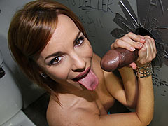 Dana Dearmond meets a huge black cock at a dirty glory hole