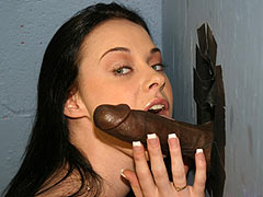 Molly Mason sucking off a black Dude at a Gloryhole