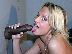Nicky Hilton sucking a big black gloryhole Cock
