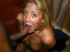 Lusty blonde housewife Jules gets tagged all over and gives head
