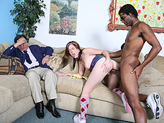 Ivy Ryder goe black in front of her father