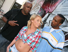 Blonde babe Aria Austin gets double penetrated from Blacks on Blondes